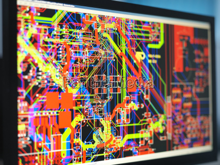 computer screens with electronic circuitry designs
