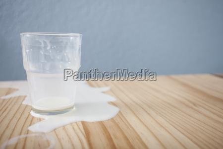glass of spilt milk on table