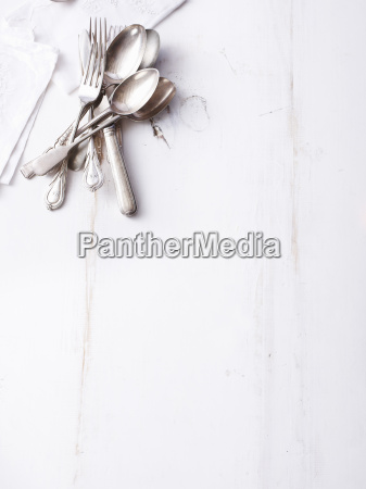 still life of traditional cutlery on