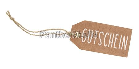 brown pendant with the inscription voucher