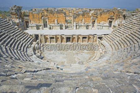roman amphitheatre elevated view hierapolis pamukkale