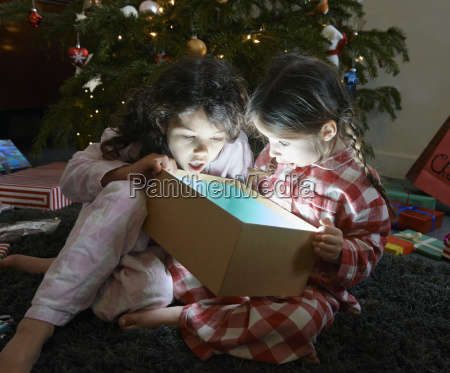two sisters open mouthed on unwrapping