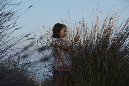 girl and silhouetted long grasses almeria