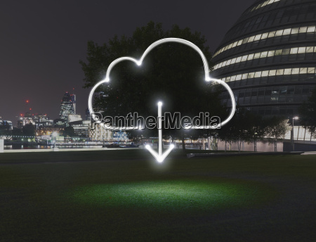 glowing cloud symbol with download arrow