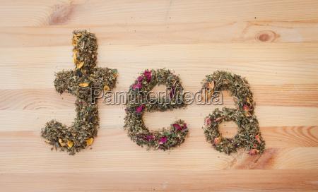 tea lettering of loose tea