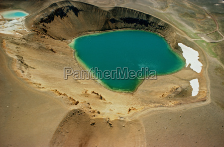 aerial view of crater lake