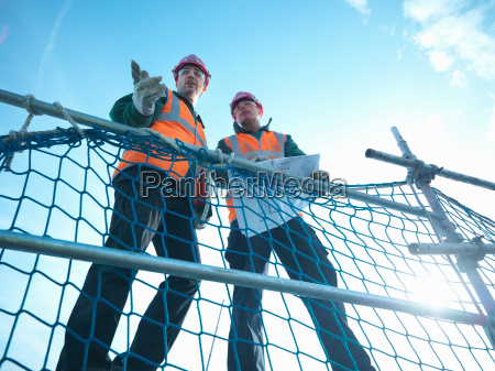 low angle view through scaffolding of