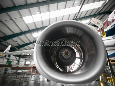 close up of disassembled 737 jet