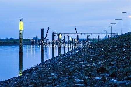 lights on river lit up at