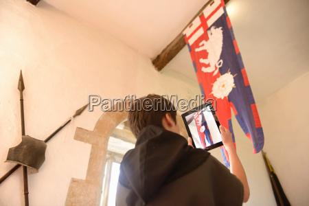history student photographing richard iii banner
