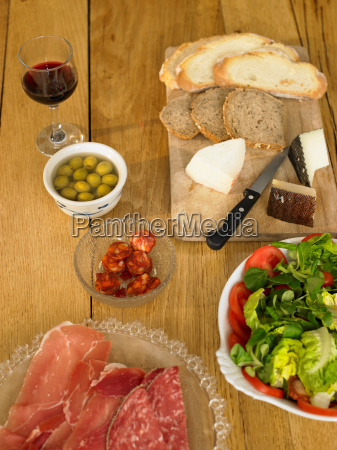 table layed with spanish food