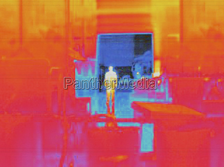 infra red heat image of worker