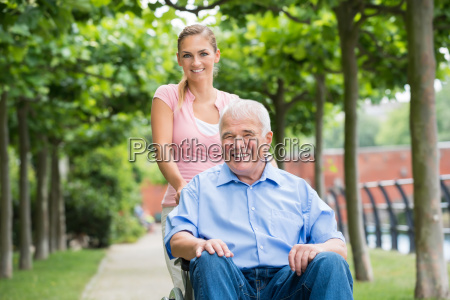 woman with her old senior father