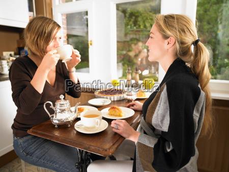 pregnant women having tea