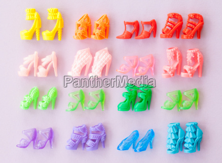 various colorful shoes