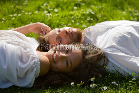 love couple relaxing in a park