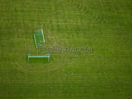 aerial view of discarded soccer goals