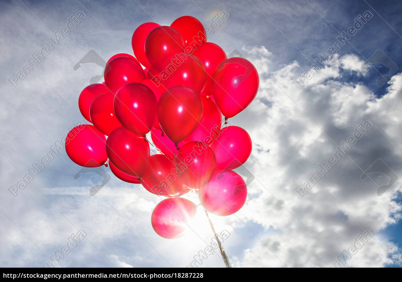 bunch, of, red, balloons, in, blue - 18287228
