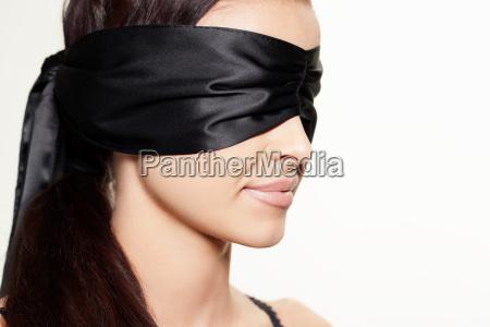 woman wearing blindfold