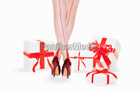 woman wearing red stilettos with gift