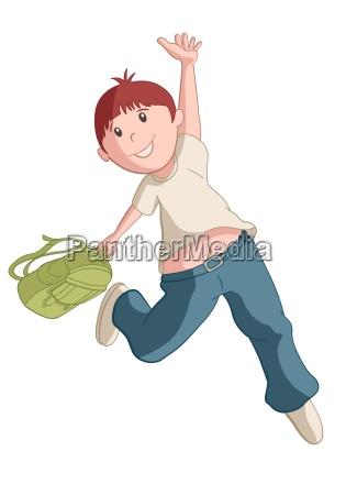 vector illustration of running happy school