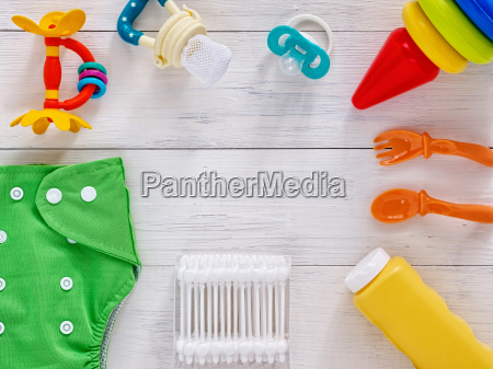 collection of items for babies with