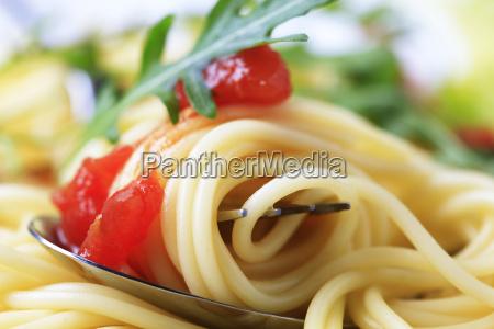 detail des gekochten spaghetti