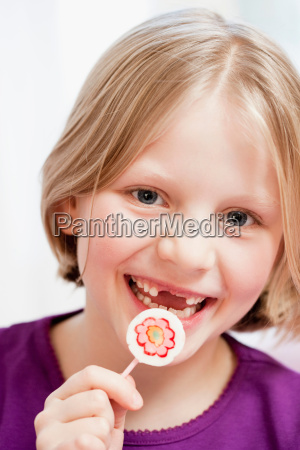 young girl with tooth gap