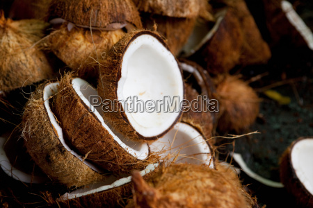 close up of halved coconuts
