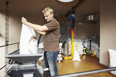 man working at brewery