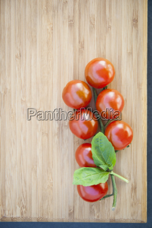 still life of vine tomatoes with