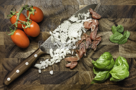 still life of chopped onion and