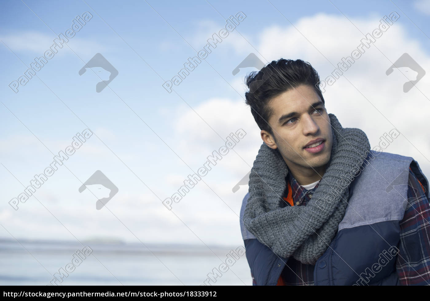 young, man, wearing, grey, scarf - 18333912