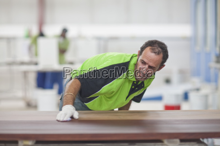 carpenter checking quality of wood in