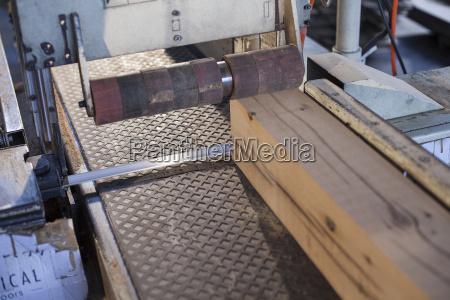 wood block on conveyor in factory