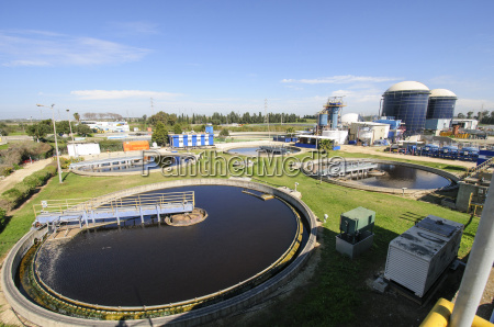 view of sludge treatment pool and