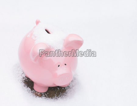piggy bank in snow