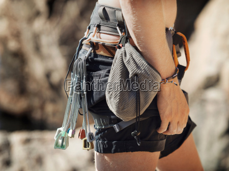 close up of rock climbers belt