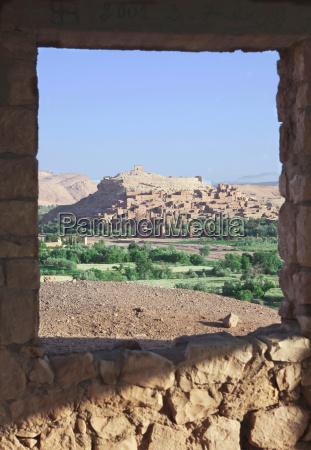 desert town viewed through window