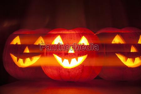 carved pumpkin multiple exposure