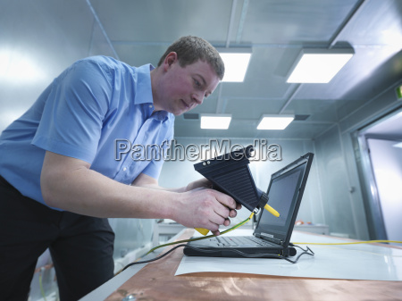 engineer carrying out electro static discharge