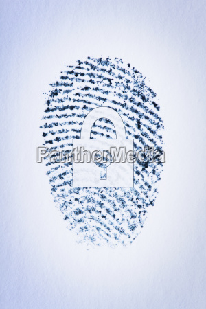 lock outline over a fingerprint of