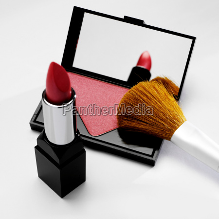 rouge and lipstick with make up