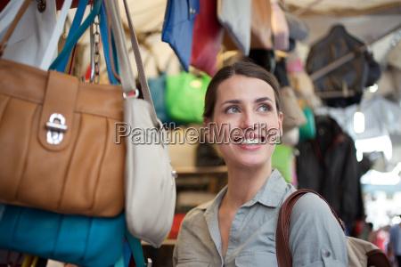 young woman shopping san lorenzo market
