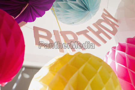 low angle view of colorful birthday