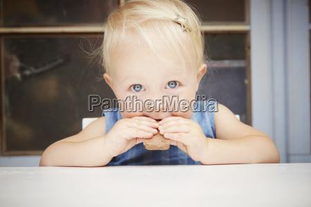 portrait of cute blonde baby girl
