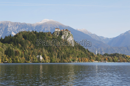 view of fortress lake bled slovenia
