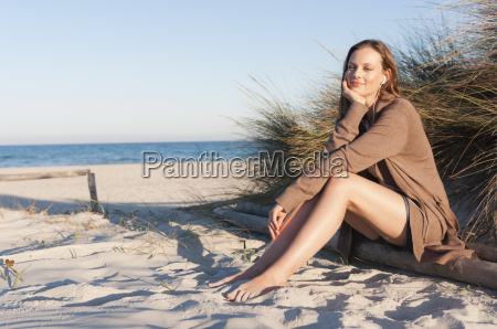 woman enjoying beach sardinia italy