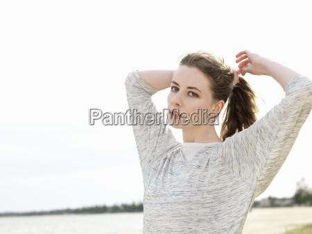 mujer femenino retrato al aire libre