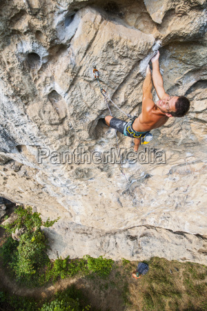 high angle view of rock climber